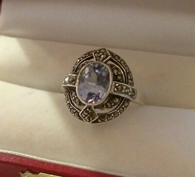 Vintage 925 Silver Ring with Blue Stone