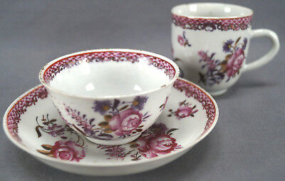Chinese Export Porcelain Pink Rose Fish scales & Gilt Cup Trio B Circa 1760s