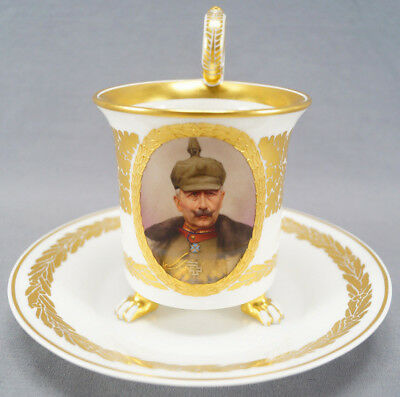 KPM Berlin Hand Painted WWI Wilhelm II Portrait & Gilt Leaf Empire Form Cup