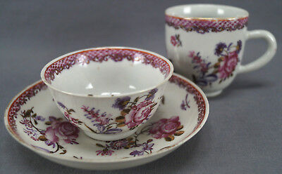 Chinese Export Porcelain Pink Rose Fish scales & Gilt Cup Trio A Circa 1760s