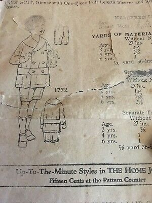 1905 Home Journal Sewing Pattern #1772 BOYS SUIT amazing! Look. Great Condition