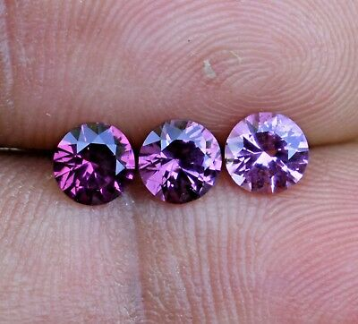 Loose Natural Ceylon Pink Spinel 3 Pcs Untreated Round Brilliant 4.9MM 1.43Ct