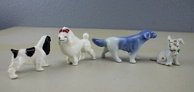 Lot of 4 Small Dog Figurines 1 Poodle 1 Spaniel 1 Labrador 1 Mix Occupied Japan