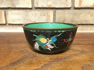 Rare Asian Antique Old Authentic Hand Made Cloisonne Bowl Enameled Dragon Green