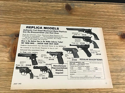 "1972 VINTAGE 7.75X5.5"" TOY REPLICA GUN MODELS PRINT Ad MAN FROM UNCLE PEACEMAKER"