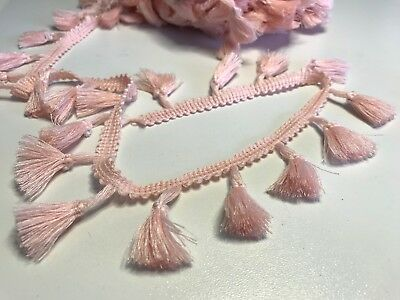 Pale Pink 4cm Trim Tassel Fringe Cotton Lace Ribbon Price per 30cm DIY Craft