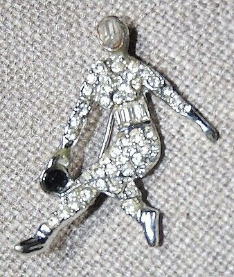 Vintage Silver Tone Clear Crystal Pro Bowling Man & Ball Pin Brooch