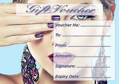 Beauty Salon Blank Gift Certificate x15 plus complimentary envelopes