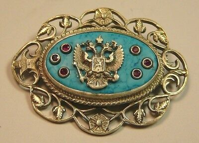 Imperial Russian 84 Silver Brooch Turquoise Ruby Signed KF