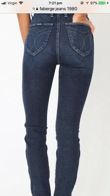 Womens Vintage Hot FABERGE Classic Blue High Waisted  Jeans 10 80's Disco