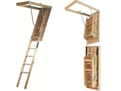 Attic Ladder Stairs Garage Kit Feet Wooden Folding Pull Down Step 7-8ft Adjust  sc 1 st  PicClick & ATTIC LADDER Stairs Pull Down Steps Wood Louisville Ladders Ceiling ...