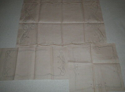 VINT 50s 3 PCES TRAY CLOTHS,DOILY PURE LINEN UNWORKED CUTWORK,EYELETS EMBROIDERY