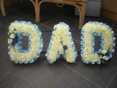 Artificial Silk Funeral Flower Dad Memorial Any 3 Letter Wreath Floral Tribute