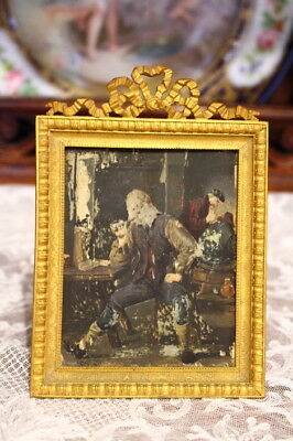 French Antique Ribbon Bow Bronze Photo Frame