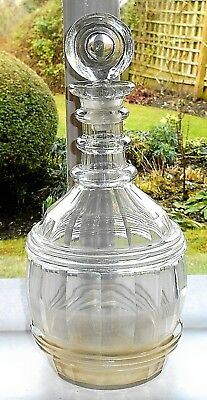 ANTIQUE GEORGIAN GLASS TREBLE  RING ROUND DECANTER WITH TARGET STOPPER c.1820