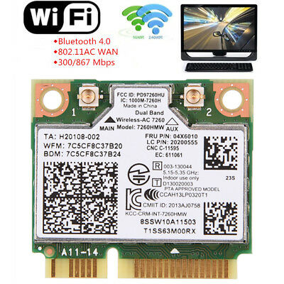 For Intel 7260 7260HMW AC Dual Band WiFi BT 4.0 Wlan Mini PCI-E Card 04X6010