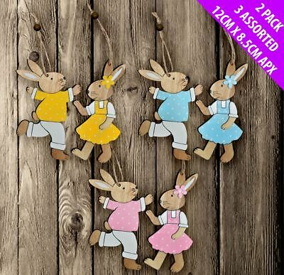 Easter Decorations Pack of 6 ('Mr & Mrs Bunny Rabbit' x 3)  - Great For Easter
