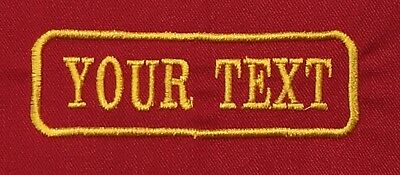 1 Line Red Twill Cloth Personalised Name Patch Badge Biker Scooter Iron Sew On