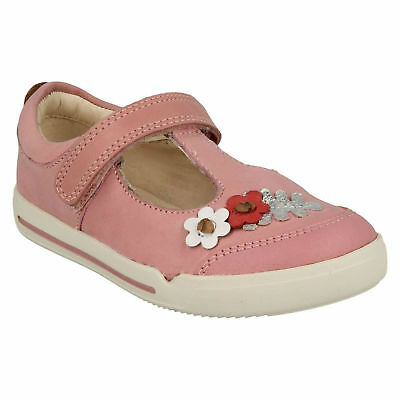 Girls Infant Kids Clarks Mini Blossom Hook & Loop Casual T Bar Summer Shoes Size
