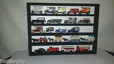 Model car wall display rack-matt black wood and white felt backing