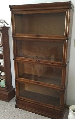 Antique Barrister Lawyer's 4 Section Bookcase By Macy