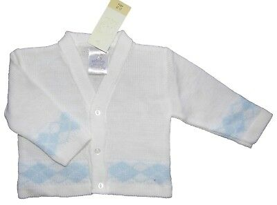 Baby Boys Cardigan 6-9 Months White with Blue Argyle Pattern