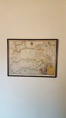 20th Century Map Repro of Saxton's Map of Kent Sussex Surrey & Middlesex 1575