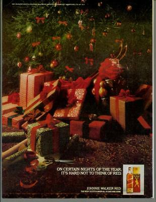 1979 Johnnie Walker Red Christmas Holiday Tree Gifts Vintage Print Ad 1970s