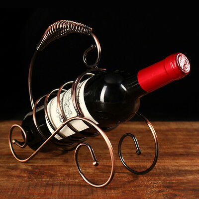 1x Antique Red Wine One Bottle Holder Stand Rack Stainless Metal Bronze Color