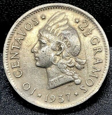 OLD DATE: 1937 10 Centavos Dominican Republic 2 1/2 Grams Silver Coin.