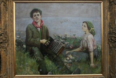20TH.Century Oil Painting Young Man Serenading His Young Lady on the Cliff Top