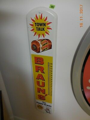 Vintage Braun's Town Talk Bread Metal Thermometer