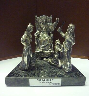 Vintage Sterling Silver Figure Group The Judgement Of Solomon On Marble Base