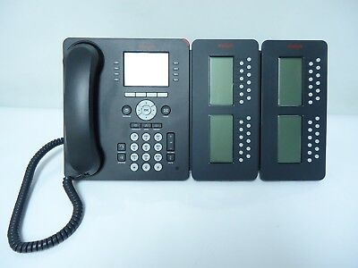 Avaya 9611G IP VoIP Phone Telephone 700480593 W/ 2 AVAYA SBM24 IP Button Module