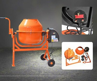 63 L Concrete Cement Mixer Electric Mortar Plaster Portable Drum Mixing Machine
