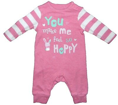 Footless Romper Sleepsuit Girl 6-9 Month You Make Me Hoppy Pink Patterned Cotton