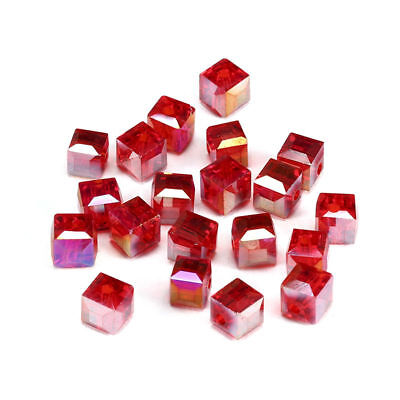 6MM/8MM Crystal bead Faceted Square Cube Glass Loose Spacer Beads,Red AB