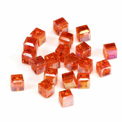 6MM/8MM Crystal bead Faceted Square Cube Glass Loose Spacer Beads,orange AB