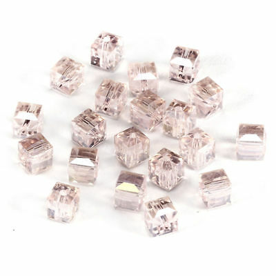 6MM/8MM Crystal bead Faceted Square Cube Glass Loose Spacer Beads,pink AB