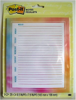 """Post-It Sticky Notes Weekly Planner Calendar 6.5"""" x 7.8"""" Watercolor 25 Shts/Pad"""