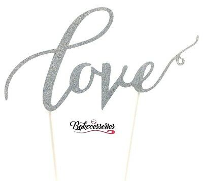 Silver Love Happy Anniversary Cake Topper Celebration Decoration Wedding Bridal
