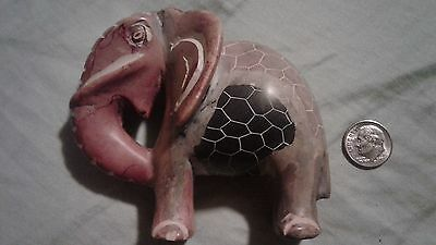 Vintage Hand-Carved, Hand-Painted Soapstone Indian Elephant Figurine