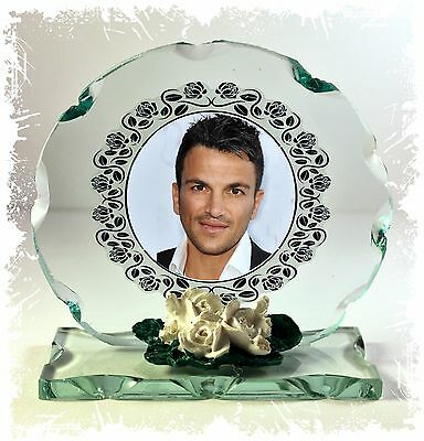 Peter Andre  Photo Cut Glass Round Frame Plaque Occasion Limited Edition #1