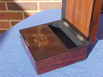 Victorian Rosewood Ladies Child's Inlaid Writing Slope Desk Top Box