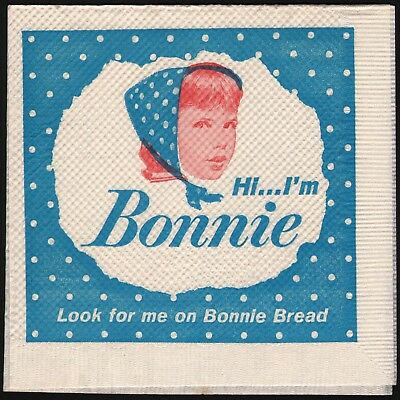 Vintage paper napkin BONNIE BREAD picturing the girl Bonnie new old stock n-mint