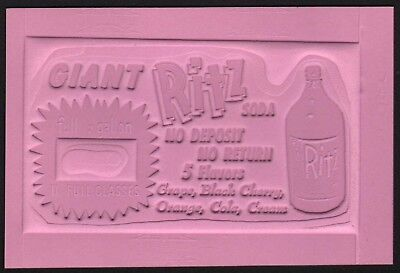 Vintage printers plate RITZ SODA with bottle pictured unused new old stock nrmt