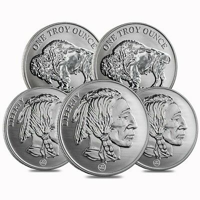Lot of 5 - Buffalo Design Reverse Proof Republic Metals 1 oz Silver Round (RMC)