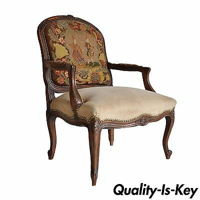Antique French Louis XV Style Walnut Needlepoint Bergere Fireside Arm Chair