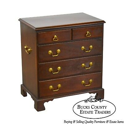 Fallon & Heller Chippendale Style Small Solid Mahogany Chest on Nightstand