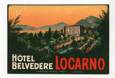 RARE Hotel luggage label Switzerland swiss Belvedere Locarno  Large size  #884